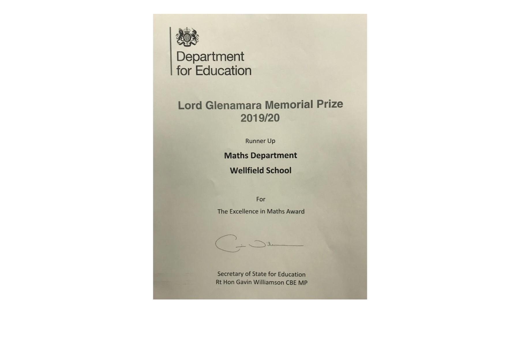 Lord Glenamara Memorial Prize